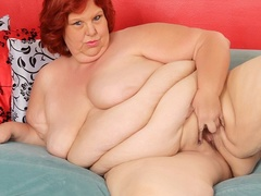 Hot and big redhead in black and pink lingerie shows fat - Picture 12