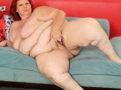 Hot and big redhead in black and pink lingerie shows fat - Picture 13