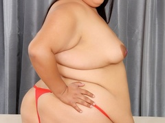 Horny big brunette in red dress and panties flaunts - Picture 6
