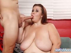 Plump mama in red and black dress takes cock in mouth - Picture 5