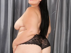 Dark hair cutie in blue net dress and black lingerie - Picture 5