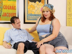 Cute big babe with blonde and red hair drops blue outfit - Picture 1