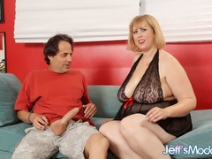 Horny plump blonde in black negligee sucks, gives tits - Picture 1