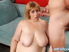 Horny plump blonde in black negligee sucks, gives tits - Picture 14