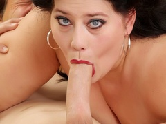 Big dark hair mama in grey dress and red lingerie - Picture 14