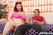big redhead pink lingerie