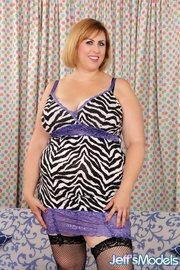 plump brunette stripped dress