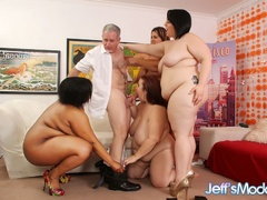 One chubby ebony babe and three brunettes strip to take - Picture 4