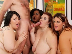 One chubby ebony babe and three brunettes strip to take - Picture 7