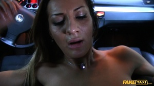 Gorgeous babe with banging body in white shirt and black pants gets naked and reveals her luscious boobs while she lets the driver screw her in different positions inside her fake taxi before she sucks the spunk out of his dick. - XXXonXXX - Pic 17