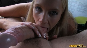 Steaming hot blonde pose her foxy body in a fake taxi before she takes off her black shirt and shows her big boobs then sucks the driver's dick before she takes off her white skirt and lets him lick her wide open twat then fuck her in multiple positions til he blasts his spunk on her pretty face. - XXXonXXX - Pic 7
