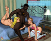 In a small bed, a black man butt fucks a blonde tranny in pink and white