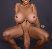 Big-titted blonde tranny services two black cocks through a glory hole!
