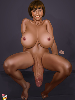 Big-titted blonde tranny services two black cocks - Picture 2