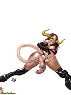 Demon girl with big tits show asshole and two big - Picture 2