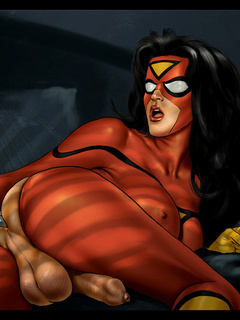 Superheroines pinch their big boobs and jerk their - Picture 3