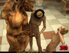 Egyptian royalty gets into a hot threesome with a shemale and minotaur!