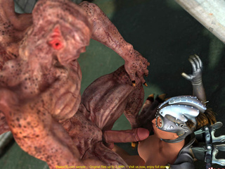 Scaly demon fucks a hot, horny steampunk babe - Picture 1