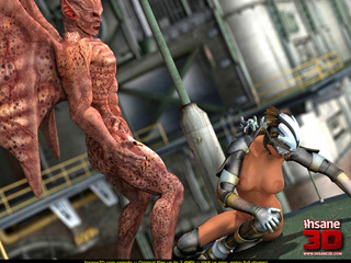Scaly demon fucks a hot, horny steampunk babe - Picture 4