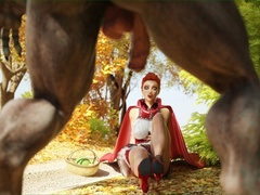 Red riding hood gets stopped by Wolf on the road to - Picture 1