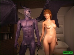 Brunette gets fucked by a hung purple monstrosity - Picture 5