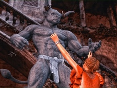 Brunette brings a minotaur statue to life to get - Picture 1