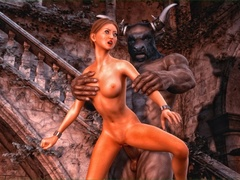 Brunette brings a minotaur statue to life to get - Picture 5