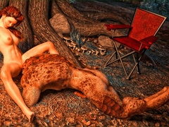 Lizard man fucks a redhead on forest ground by the - Picture 5