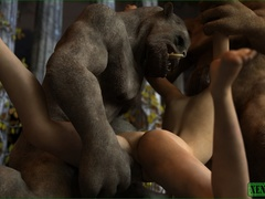 Ogres gets their hard monstrous dicks inside sexy - Picture 4