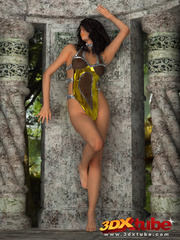 Hot jungle chick in gold strips and teases her body. - Picture 2