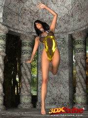 Hot jungle chick in gold strips and teases her body. - Picture 3