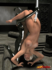 Slut gets some lesbian action from a silver statue in - Picture 8