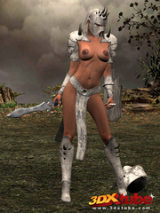 Ebony warrior takes off her armor and rubs her wet - Picture 1