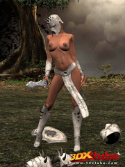 Ebony warrior takes off her armor and rubs her wet - Picture 2