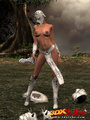 Ebony warrior takes off her armor and - Picture 2