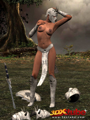 Ebony warrior takes off her armor and rubs her wet - Picture 3