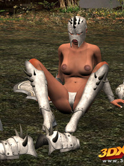 Ebony warrior takes off her armor and rubs her wet - Picture 4