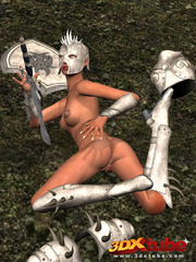 Ebony warrior takes off her armor and rubs her wet - Picture 6