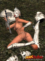 Ebony warrior takes off her armor and - Picture 6