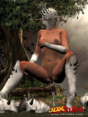 Ebony warrior takes off her armor and rubs her wet - Picture 7