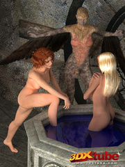 Two innocent sluts get fucked by a harpy with a hard - Picture 2