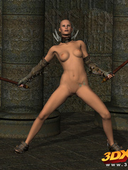 Sexy warrior babe strips and sticks her axe in her - Picture 4