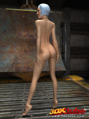Slender chick is naked in the warehouse and shows her - Picture 1