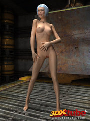 Slender chick is naked in the warehouse and shows her - Picture 2