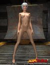 Slender chick is naked in the warehouse and shows her perfect tits.