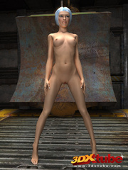 Slender chick is naked in the warehouse and shows her - Picture 3