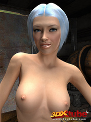 Slender chick is naked in the warehouse and shows her - Picture 4