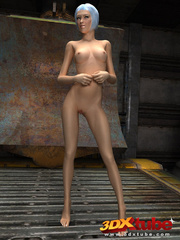 Slender chick is naked in the warehouse and shows her - Picture 5