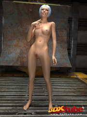 Slender chick is naked in the warehouse and shows her - Picture 6