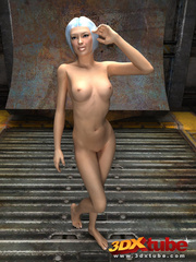 Slender chick is naked in the warehouse and shows her - Picture 7
